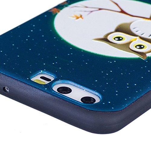 Funda Huawei P10,SainCat Moda Alta Calidad suave de Relieve Pintura TPU Silicona Suave Funda Carcasa Caso Parachoques Diseño pintado Patrón para Carcasas Huawei P10 TPU Silicona Flexible Candy Colors  Halcón en el árbol