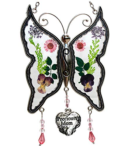 Precious Mom New Butterfly Suncatchers Glass Mother Wind Chime with Pressed Flower Wings Embedded in Glass with Metal Trim Mom Heart Charm - Gifts for Mom -Mom for Birthdays Christmas
