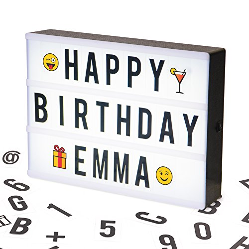 A4 Cinematic LED Light Box Sign | A4 Vintage Style Light Up Message and Note Sign - Personalise your own message with 100 Letters, Smiles & Symbols | Battery and USB Power (1.5m USB Cable Included)