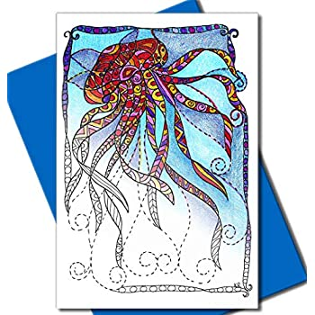 Amazon.com : Art Eclect Under the Sea Coloring Greeting Cards for ...