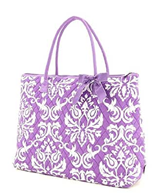 Belvah Extra Large Quilted Damask Print Tote Handbag - Choice of Colors (Lavender)