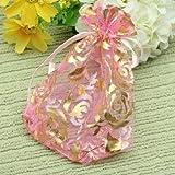 100pcs Drawstring Rose Organza Gift Bag Jewellery