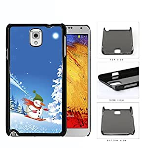 Cute Winter Wonderland Snowman Skiing down Snow Mountain Samsung Galaxy Note III 3 N9000 Hard Snap on Plastic Cell Phone Case Cover