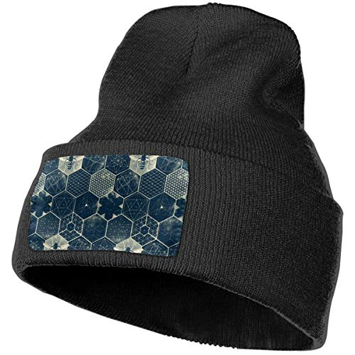 WHOO93@Y Unisex 100% Acrylic Knitted Hat Cap, The Honeycomb Conjecture Pattern Cute Beanie Hat