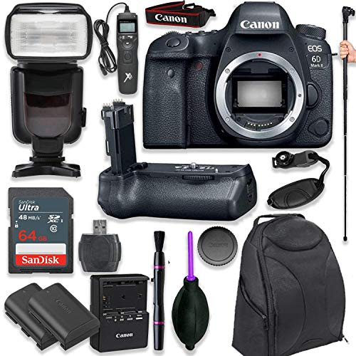 (Canon EOS 6D Mark II Digital SLR Camera Body - Wi-Fi Enabled with Pro Camera Battery Grip, Professional TTL Flash, Deluxe Backpack 200EG, Universal Timer Remote Control, Spare LP-E6 Battery (16 items) )