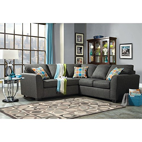 Furniture of America Mallet Fabric Upholstered Sectional in Gray
