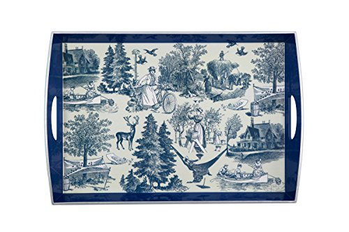 (Country Harvest Large Wooden Tray Color: Indigo)
