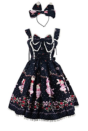 Nite closet Sweet Lolita Dress Gothic Black Bunny Printed Bowknot (Black, US4-8)