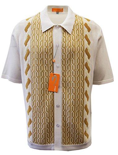 Edtion S Men's Short Sleeve Knit Shirt- California Rockabilly Style: Multi Chain Links Design (Large, - California Mens Style