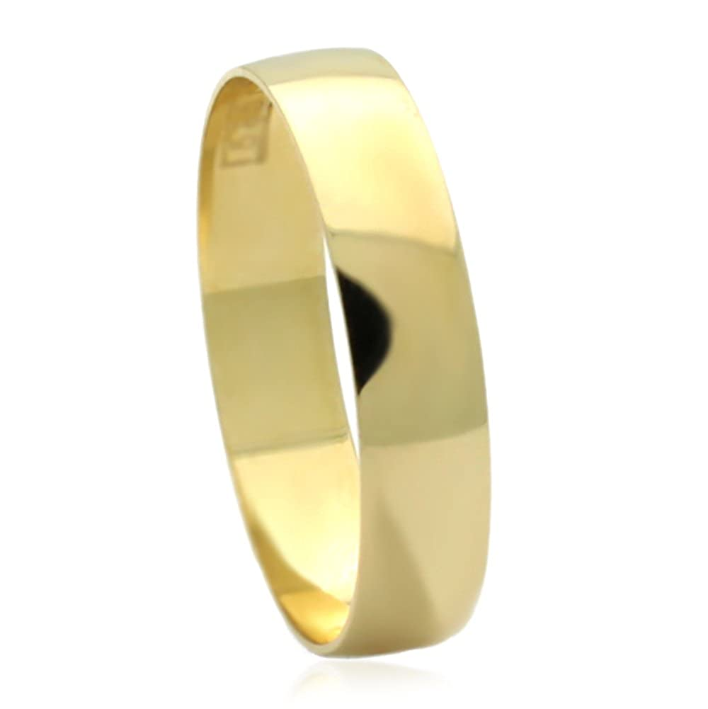 14K Yellow Gold 4mm Classic Plain Light Wedding Band Size 5 to 13