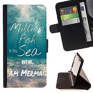Dragon Case- Caja de la carpeta del caso en folio de cuero del tir¨®n de la cubierta protectora Shell FOR Sony Xperia Z2 L50t L50W L50U- Million Fish Sea Mermaid