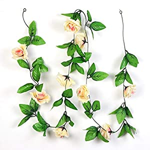 Aparty4u 5pcs Artificial Rose Vines Champagne Rose Garland Fake Flower Plants for Wedding Decoration Home Décor 80