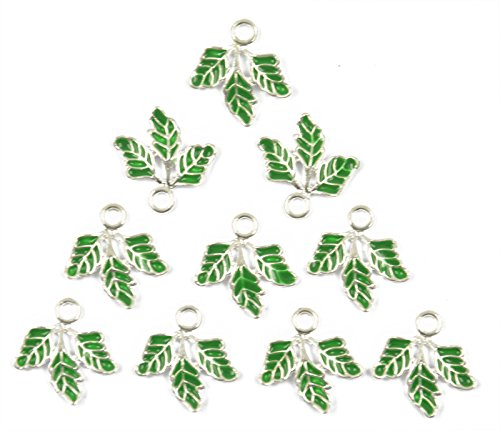 SM SunniMix 20pcs Leaf Charms Collection, Enamel Charms, Greel Leaves Metal Pendants for Jewelry Findings