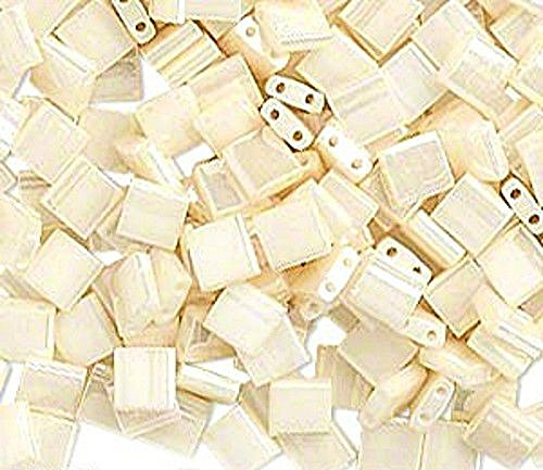 TILA TILE GLASS BEADS MIYUKI DOUBLE HOLE 5x5mm SQUARE PICK COLOR 10grams (Ceylon Antique Ivory Pearl (TL592))