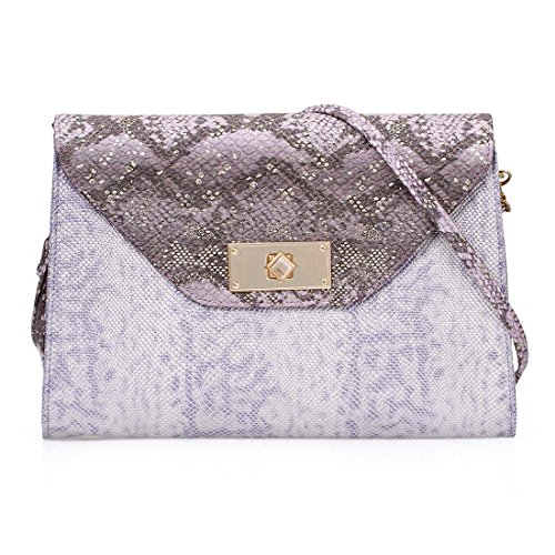 BMC Fashionably Stylish Purple Metallic Faux Snakeskin Large Envelope Style Clutch - Lilac Lover (Lined Snakeskin Clutch)