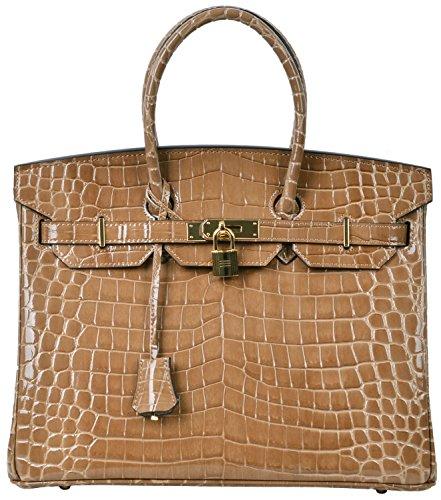 Cherish Kiss Padlock Bag Women Crocodile Leather Top Handle Handbags (30cm, Brown) by Cherish Kiss