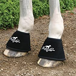 Professionals Choice Equine Quick Wrap Hoof Bell Boot, Pair (Large, Black)