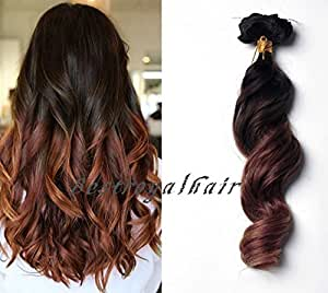 Amazon.com : BestRoyalHair Brown to Auburn Two Colors 18 Clips Ombre Indian remy clip in hair