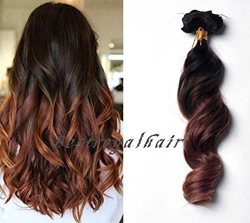 Amazon Com Bestroyalhair Brown To Auburn Two Colors 18 Clips Ombre