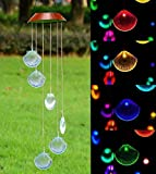 Xunlong LED Solar Powered Wind Chime, Color-Changing Seashell Shapes Wind Chimes Solar Mobile Wind Bell for Home/Party/Garden/Yard Decoration