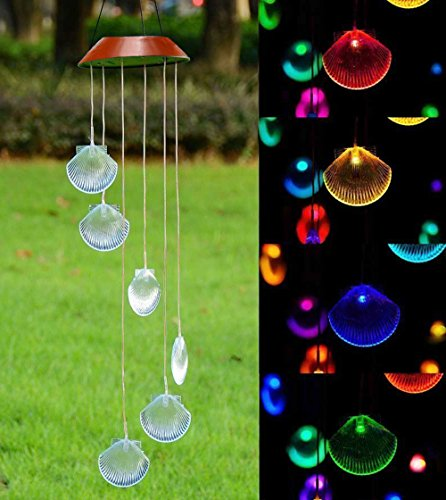 Xunlong LED Solar Powered Wind Chime, Color-Changing Seashell Shapes Wind Chimes Solar Mobile Wind Bell for Home/Party/Garden/Yard Decoration by Xunlong