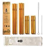 Namastraws Popotes de Bambú Orgánico Sustentable - 20cm - Set de 12 con 2 Cepillos de Limpieza y Bolsa de Transporte - Hechos a Mano con Amor - Biodegradables, Reusables, Reciclables, Ecológicos - Seguros para la Familia - Antibacterianos - Organic Bamboo Straws 8''