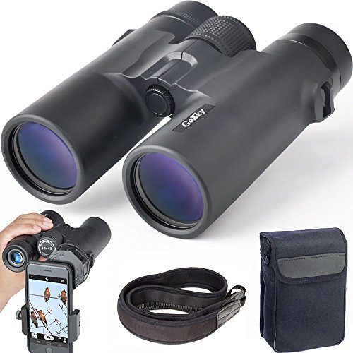Gosky 10x42 Roof Prism Binoculars for Adults, HD Professional Binoculars for Bird Watching Travel Stargazing Hunting Concerts Sports-BAK4 Prism FMC Lens-with Phone Mount Strap Carrying - Bag Climbing Camera