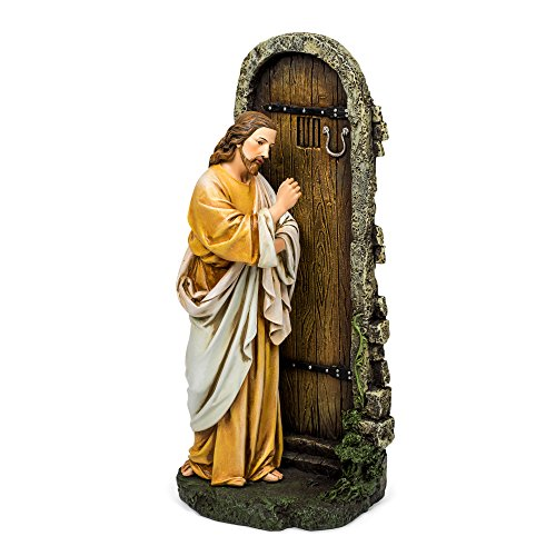 Jesus Knocking at Door Renaissance Collection 12 Inch Resin Stone Statue - Statue Shepherd Good