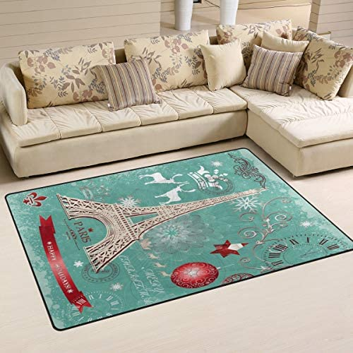 Linomo Area Rug Winter Christmas Paris Eiffel Tower Floor Rugs Doormat Living Room Home Decor, Carpets Area Mats for Kids Boys Girls Bedroom 60 x 39 Inches