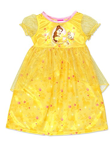 Disney Princess Belle Girls Fantasy Gown Nightgown (2T, Yellow/Multi) by Disney Princess