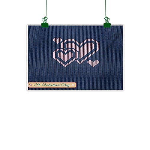 Anzhutwelve Valentines Day,Wall Artwork Digital Knit Wear Like Pattern with Hearts Modern and Love Themed Design Kitchen Home Decorations Navy and Pink W 40