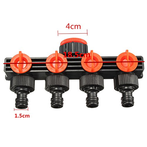 Garden Hose Pipe Splitter Plastic Drip Irrigation Water Connector Agricultural 4 Way Tap Connectors by YingYing Garden and Outdoor