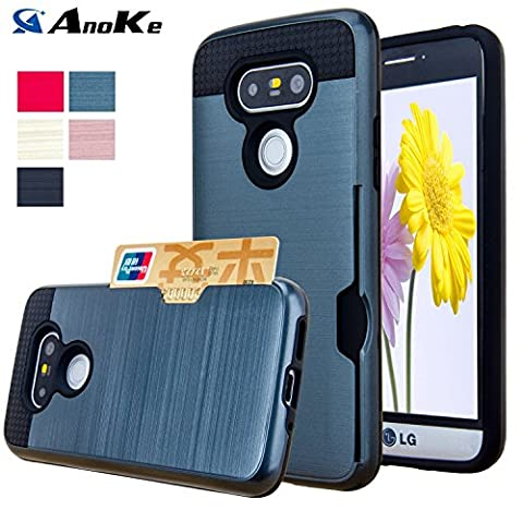 LG G5 Case, AnoKe [Credit Card Slots Holder][Not Wallet] Hard Silicone Rubber Hybrid Armor Shockproof Protective Holster Cover Case For LG G5 - KLS Metal - Mens Sprint Walker