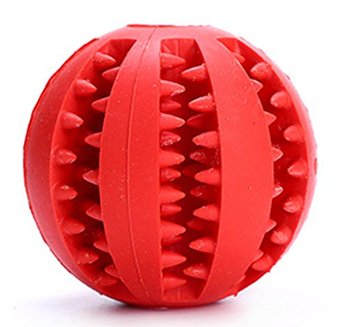 PetsGarden Interactive Soft Rubber Toy Ball for Dogs & Cats Teeth Cleaning (1.97in/5cm, Red)