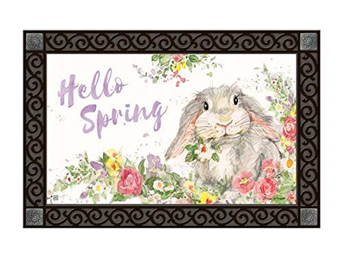 - Studio M MatMates Hello Bunny Spring Easter Decorative Floor Mat Indoor or Outdoor Doormat with Eco-Friendly Recycled Rubber Backing, 18 x 30 Inches