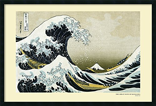 Framed Art Print, 'The Great Wave off the Coast of Kanagawa, 1831' by Katsushika Hokusai: Outer Size 37 x 25