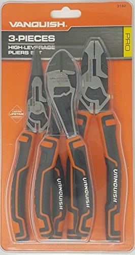 Vanquish 3 Piece High Leverage Heavy Duty Professional Quality Pliers Set, 7'' Wide Jaw Diagonal Cut Pliers, 8'' Long Nose Pliers, 8'' Linesman Pliers by Vanquish Pro