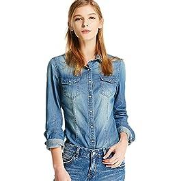 chouyatou Women's Classic Fit Long Sleeve Button Up Denim Shirt