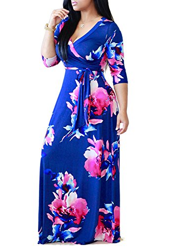 LightlyKiss Women's Casual Sexy V-Neck Floral Long Sleeves Maxi Dresses Floor Length Evening Wedding Loose Outfit with Belt Blue