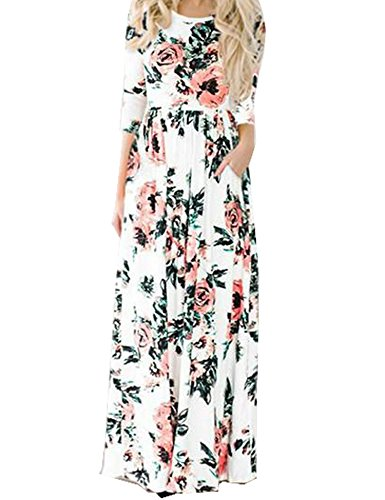 Murimia Women's Floral Print 3/4 Sleeve Empire Flower Maxi Casual Dress With Pocketed, White, Small by Murimia (Image #1)