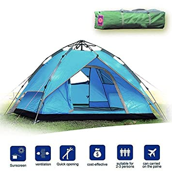 Likorlove 3 Person Camping Tent, Automatic Pop Up 3 Season, Double Layer Rainfly UV Protection Backpacking Tent with Carry Bag for Camping Hiking Travel Hunting