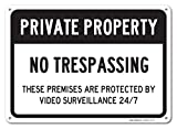 No Trespassing Sign - Private Property Sign, Large 10x14'' Aluminum, For Indoor or Outdoor Use - By SIGO SIGNS