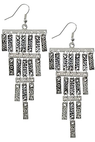 Textured Chandelier Earrings (TRENDY FASHION JEWELRY TEXTURED METAL CHANDELIER EARRINGS BY FASHION DESTINATION | (Antique Silver))