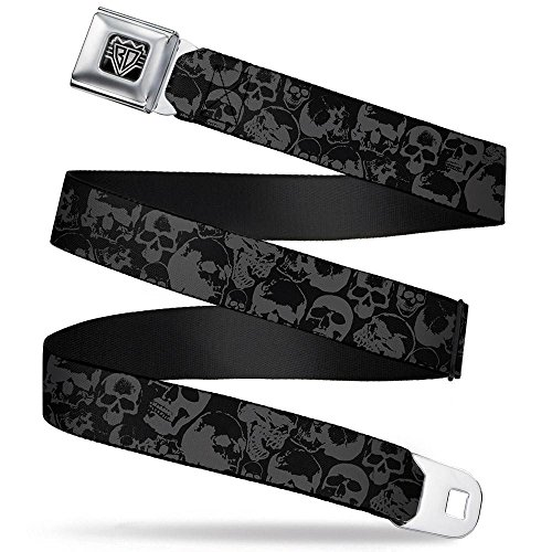 Buckle-Down Seatbelt Belt - Skull Pile Black/Gray - 1.5