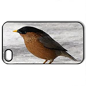 Beautiful Bird - Case Cover for iPhone 4 and 4s (Birds Series, Watercolor style, Black)