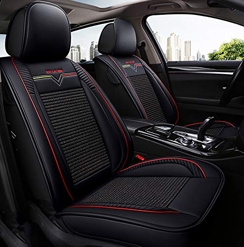 (YRRC Summer Luxury Car Seat Cover, Full Round Neutral Seat, Leather Seat Cushion, 3D Breathable Fabric Car Seat Ice Silk Leather Universal All-Round Cushion Seat Cover,Black)