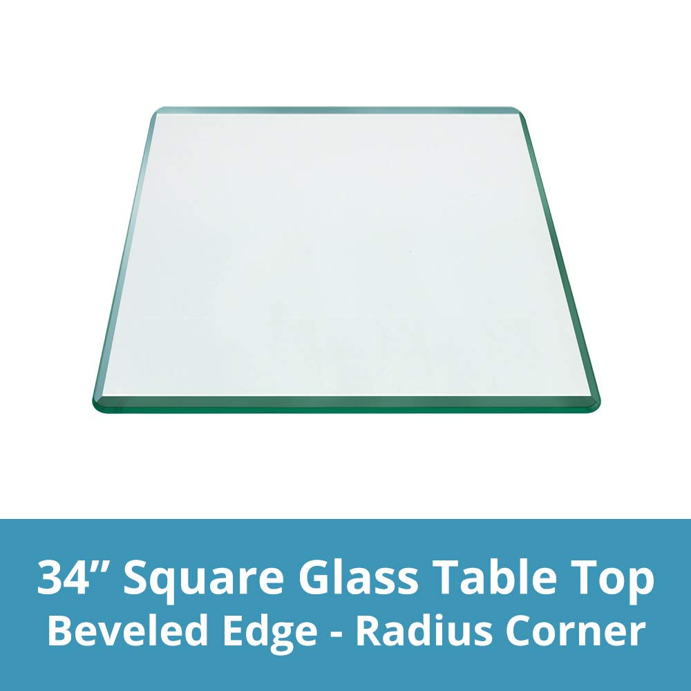 TroySys Square 1/2 Inch Thick Bevel Polished Annealed Glass Table Top Radius, 34'' L