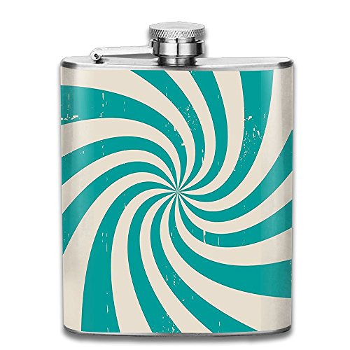Stylized Nostalgic Spiral Colors Background Turning Stripes Stainless Steel Hip Flask 7 OZ ()