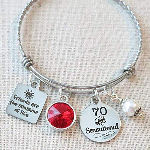 70th BIRTHDAY Gift For Her Milestone July Birthday Gifts Friend 70 And Sensational Bangle Bracelet Friends Are The Sunshine Of Life