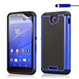 32nd® Shock proof dual defender case cover for Sony Xperia E4 + screen protector, cleaning cloth and touch stylus - Deep Blue